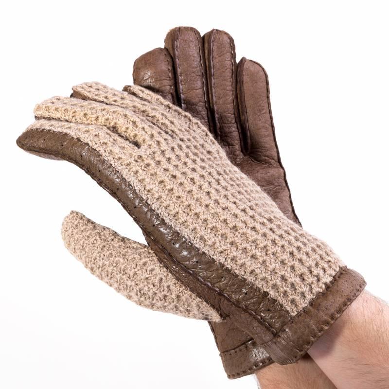 Original Karlsbader Handschuh mit Pecary Leder und Strickhände aus Wolle, 8,5 - 2