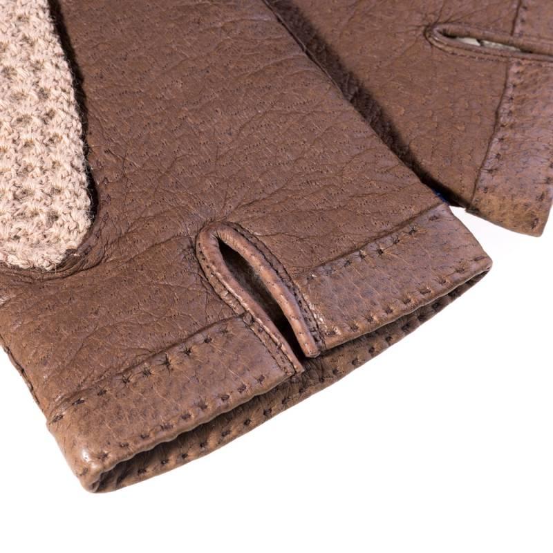 Original Karlsbader Handschuh mit Pecary Leder und Strickhände aus Wolle, 8,5 - 4