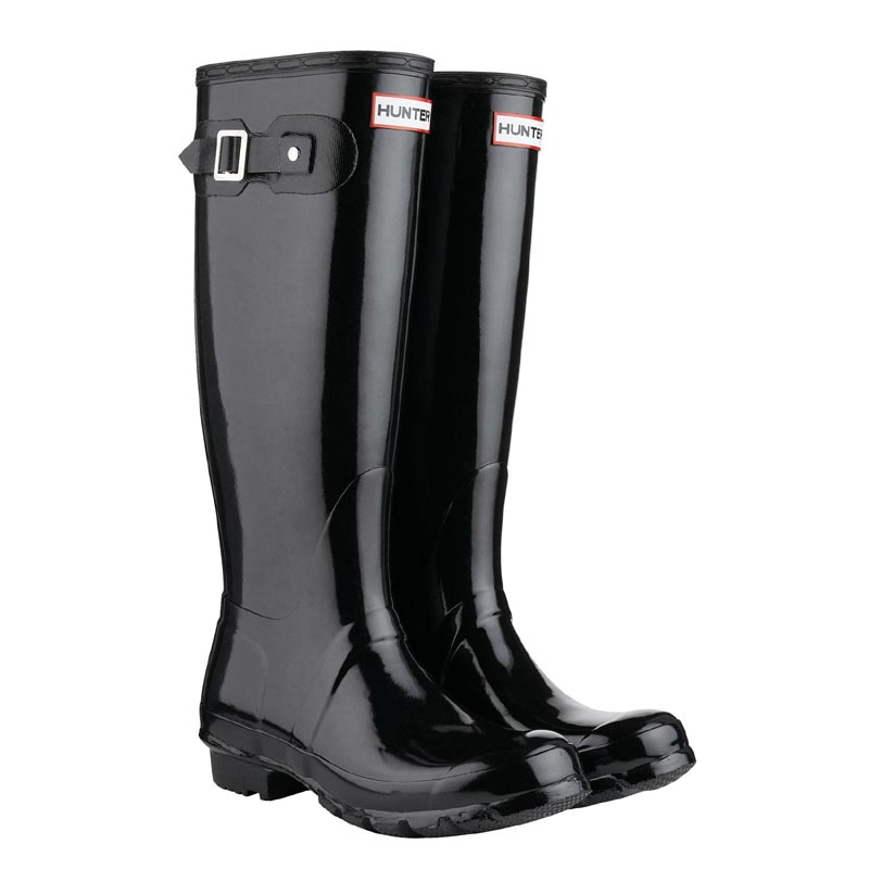 Hunter Women's Original Tall Gloss Gummistiefel in schwarz