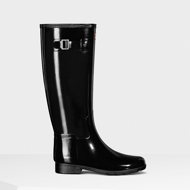 Hunter Original Refined Gloss Gummistiefel in schwarz